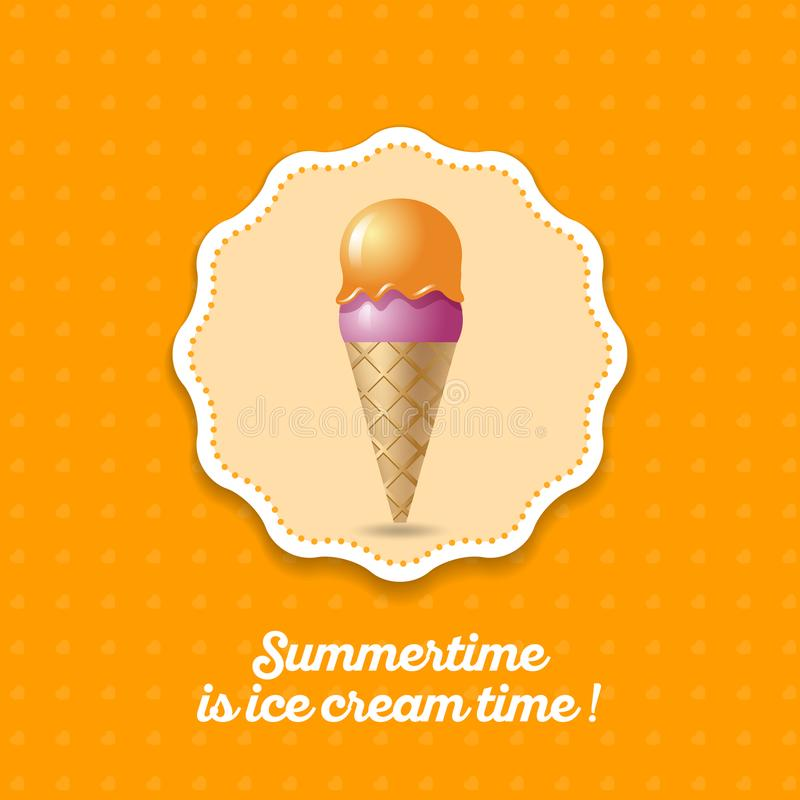 Ice cream icon. Two scoops pink and orange ice cream in a waffle cone on a yellow background. stock illustration