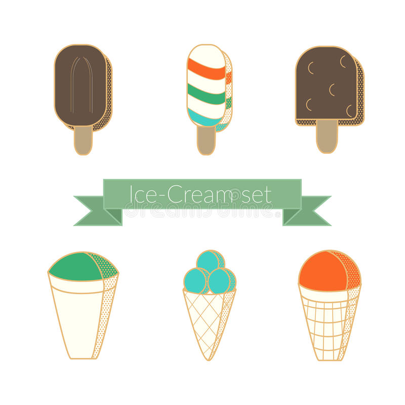 Ice-cream 6 icon flat linear colorful style set vector illustration