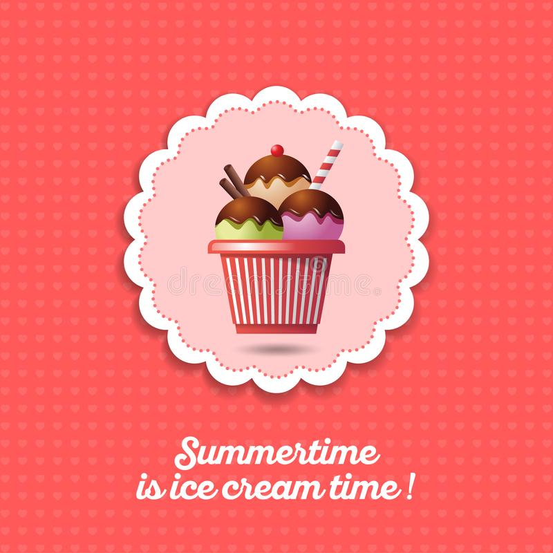 Ice cream icon. Three scoops of ice cream with chocolate and vanilla straws in a cup. vector illustration