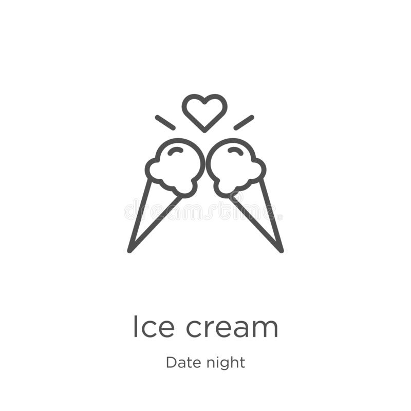 Ice cream icon vector from date night collection. Thin line ice cream outline icon vector illustration. Outline, thin line ice. Ice cream icon. Element of date vector illustration