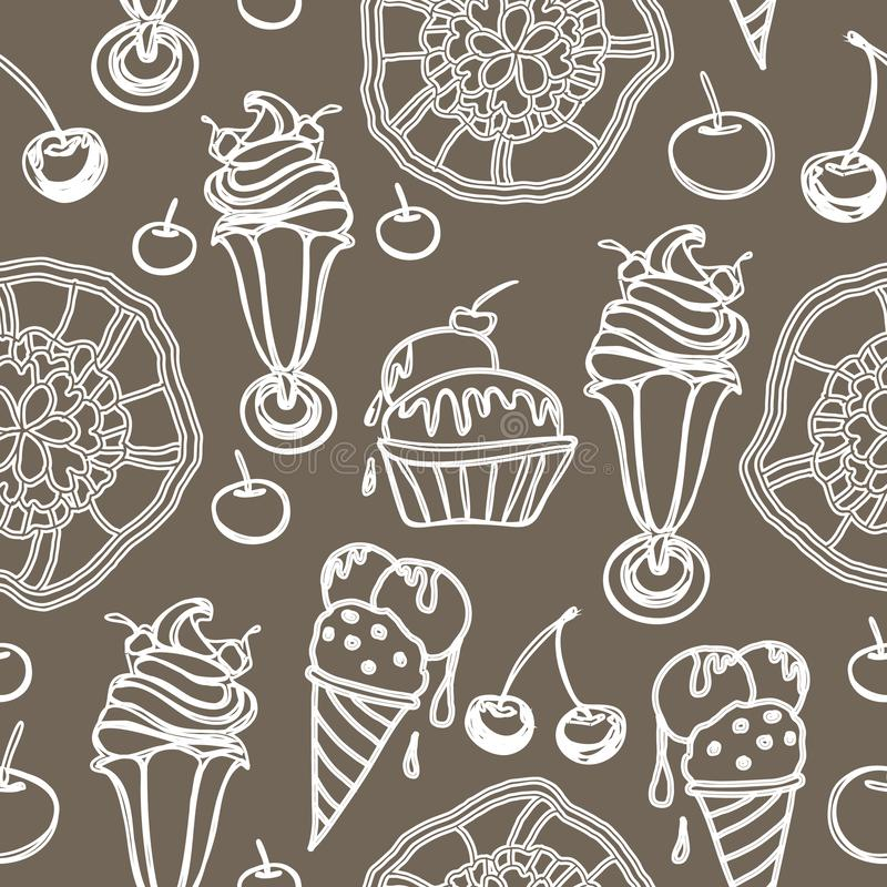 Ice Cream Lace-Sweet Dreams seamless repeat pattern illustration. Fun Background in brown and white royalty free illustration