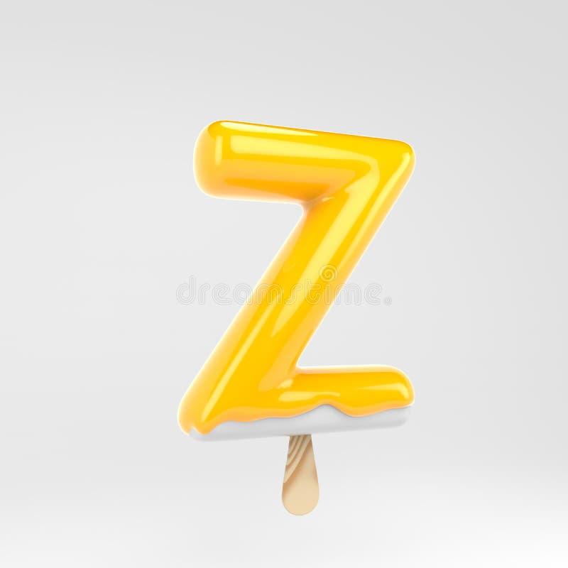 Ice cream letter Z uppercase. Yellow popsicle alphabet. 3d rendered dessert lettering isolated on white background. Can be used for summer design stock illustration