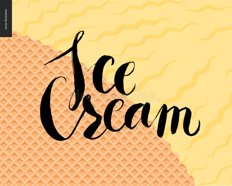 Ice Cream lettering on a yellow icecream and waffle. Ice Cream lettering on a yellow ice cream and waffle - a flat vector cartoon black ink and brush writing, on royalty free illustration