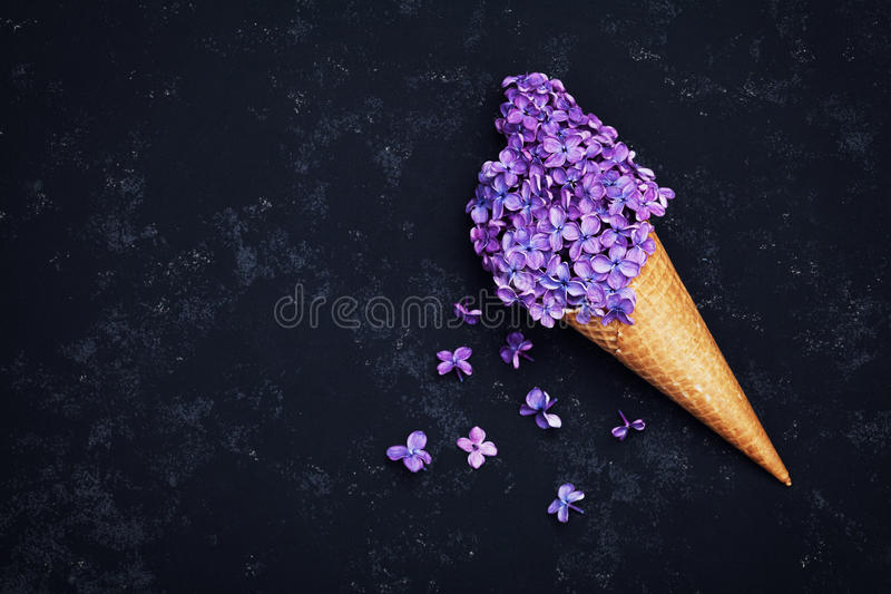 Ice cream of lilac flowers in waffle cone on black background from above, beautiful floral arrangement, vintage color, flat lay royalty free stock photo