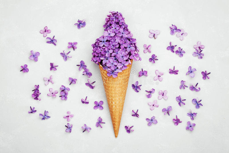 Ice cream of lilac flowers in waffle cone on gray background from above, beautiful floral arrangement, flat lay stock image