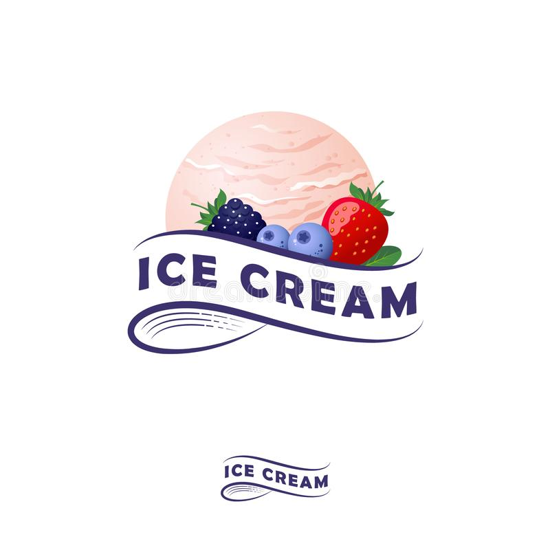 Ice cream logo. Letters on a ribbon and one scoop of ice cream with berries. Ice cream and strawberry, blueberries, blackberry and leaves. Monochrome option royalty free illustration