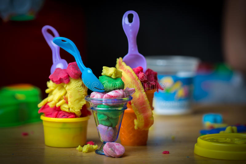 Ice cream made of play doh royalty free stock image
