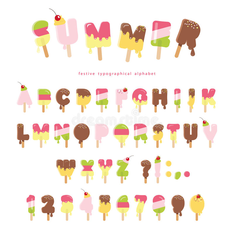 Ice cream melted font. Popsicle colorful letters and numbers can be used for summer design. on white. Vector royalty free illustration