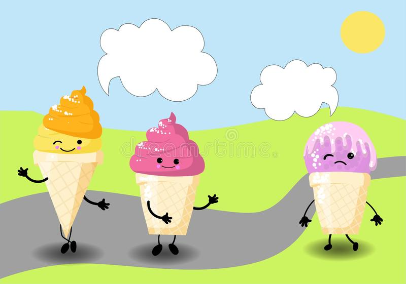 Ice cream melts in the sun. postcard for the Internet. there is space for text stock illustration