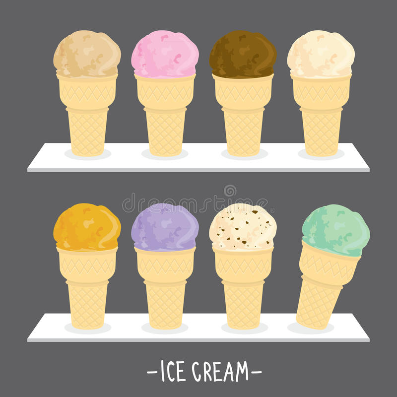Ice cream menu cone scoop sweet flavour taste cartoon vector royalty free illustration