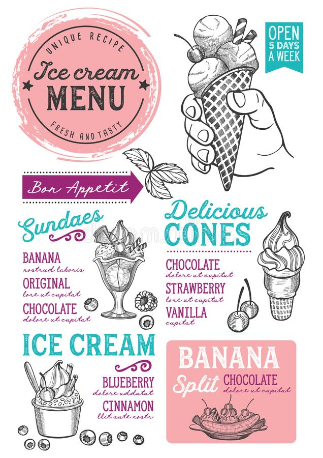 Ice cream menu restaurant, dessert food template. Ice cream restaurant menu. Vector dessert food flyer for bar and cafe. Design template with vintage hand-drawn vector illustration