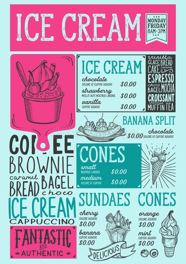 Ice cream menu restaurant, dessert food template. Ice cream restaurant menu. Vector dessert food flyer for bar and cafe. Design template with vintage hand-drawn royalty free illustration