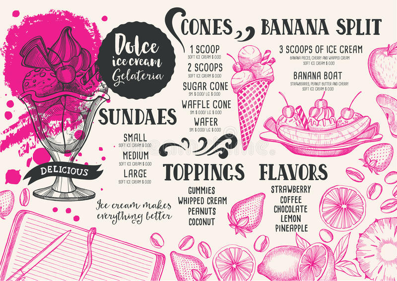 Ice cream menu template for restaurant and cafe. vector illustration