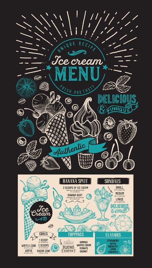 Ice cream menu. Vector dessert food flyer for restaurant. Design. Template with vintage hand-drawn illustrations royalty free illustration