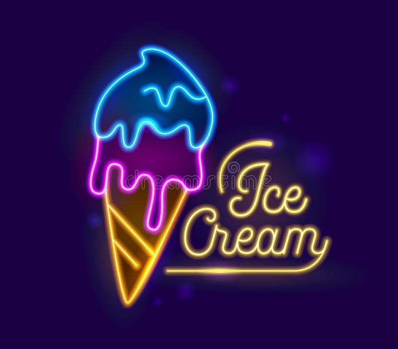 Ice Cream Neon Light Retro Banner Design. Icecream Dessert Night Illuminated Glowing Sign. Fruit Sundae in Cone Food. Ice Cream Neon Light Retro Typography royalty free illustration