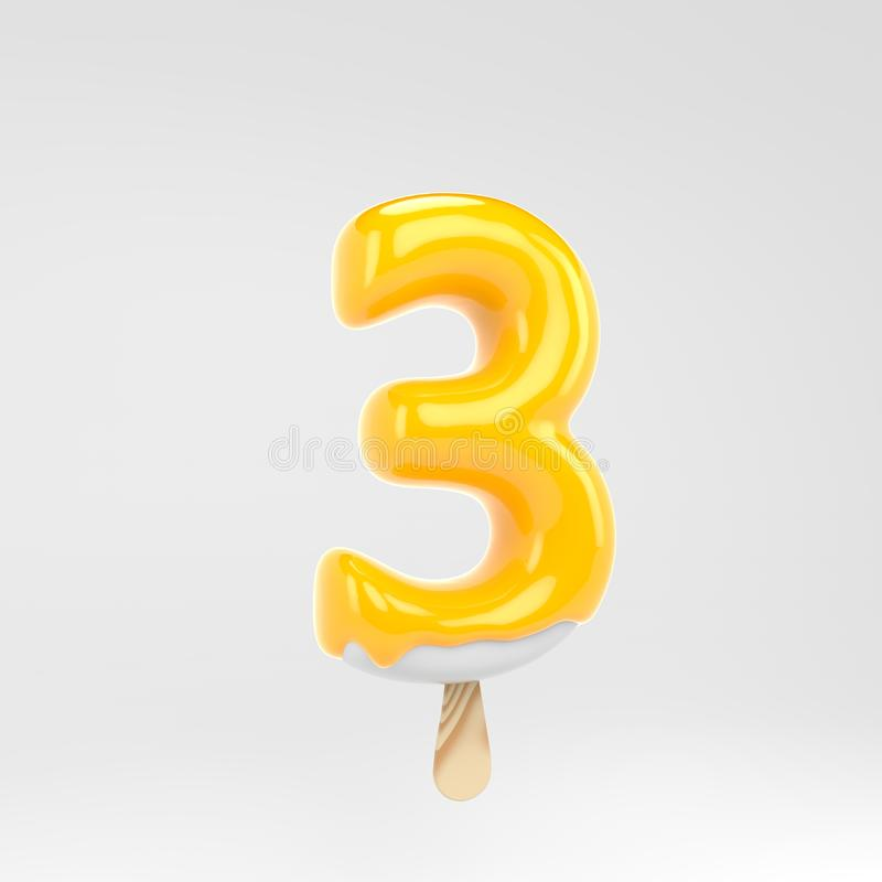 Ice cream number 3. Yellow popsicle alphabet. 3d rendered dessert lettering isolated on white background. Can be used for summer design royalty free illustration