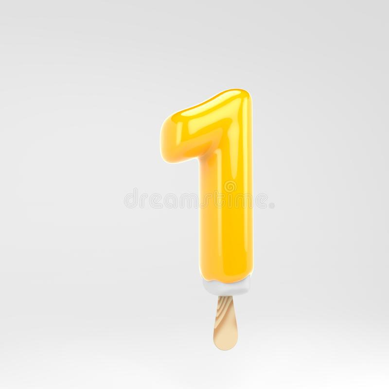 Ice cream number 1. Yellow popsicle alphabet. 3d rendered dessert lettering isolated on white background. Can be used for summer design stock illustration