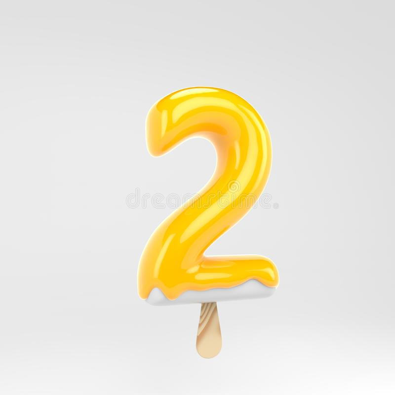 Ice cream number 2. Yellow popsicle alphabet. 3d rendered dessert lettering isolated on white background. Can be used for summer design stock illustration