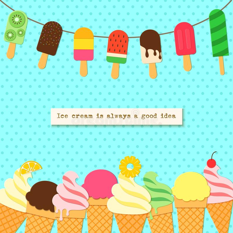 Free Ice Cream On Rope And Border In Craft Style. Tasty Bright Icecream Stick And Cones Summer On Retro Background For Royalty Free Stock Photos - 118388798