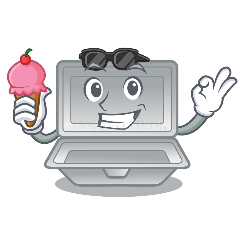 With ice cream open styrofoam isolated with the mascot. Vector illustration stock illustration