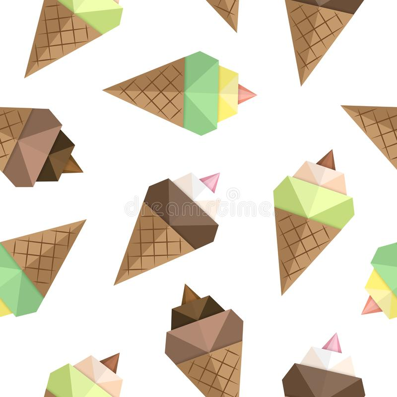 Ice cream origami seamless pattern. Summer food for use on wrapping paper, fabric, wallpaper, cookbooks, menus. Vector royalty free illustration