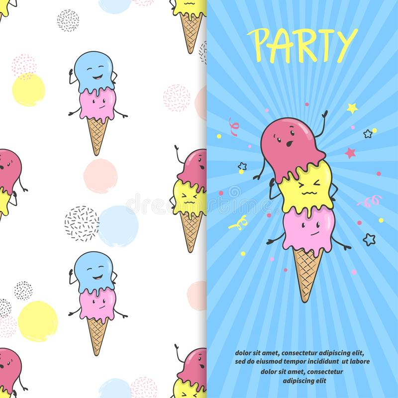 Ice Cream Party Invitation Or Poster Template. Stock Vector ...