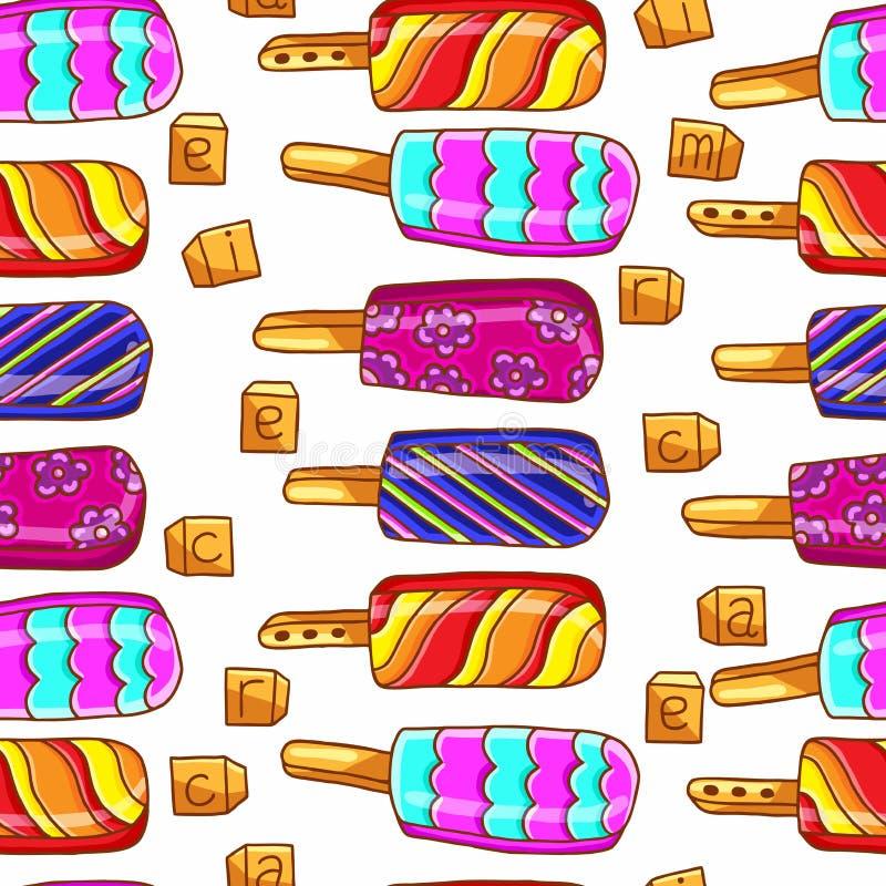 Ice cream pattern. Bright seamless pattern of ice cream. Ice cream on a stick. Summer seamless pattern, background. stock photos