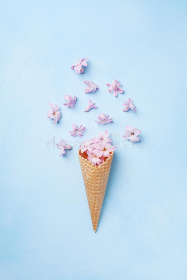 Ice cream of pink flying flowers in waffle cone on pastel blue background top view. Beautiful floral composition, flat lay styling stock photography