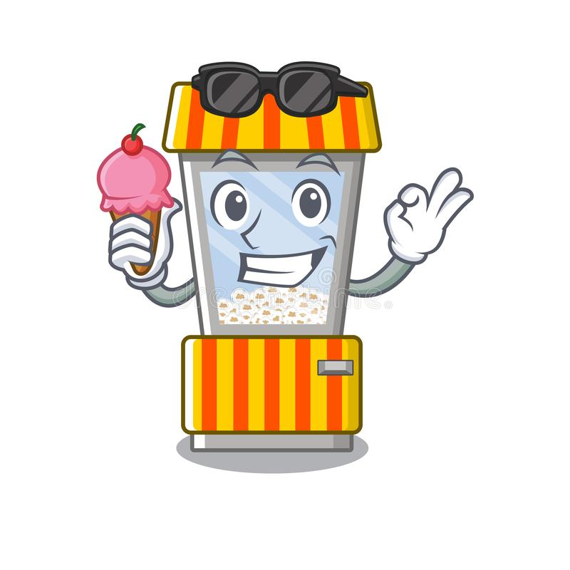 With ice cream popcorn vending machine in a character. Vector illustration royalty free illustration