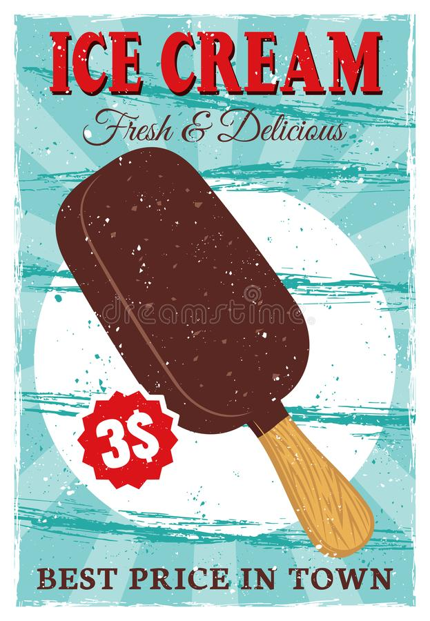 Ice cream popsicle on stick colored vintage poster royalty free illustration