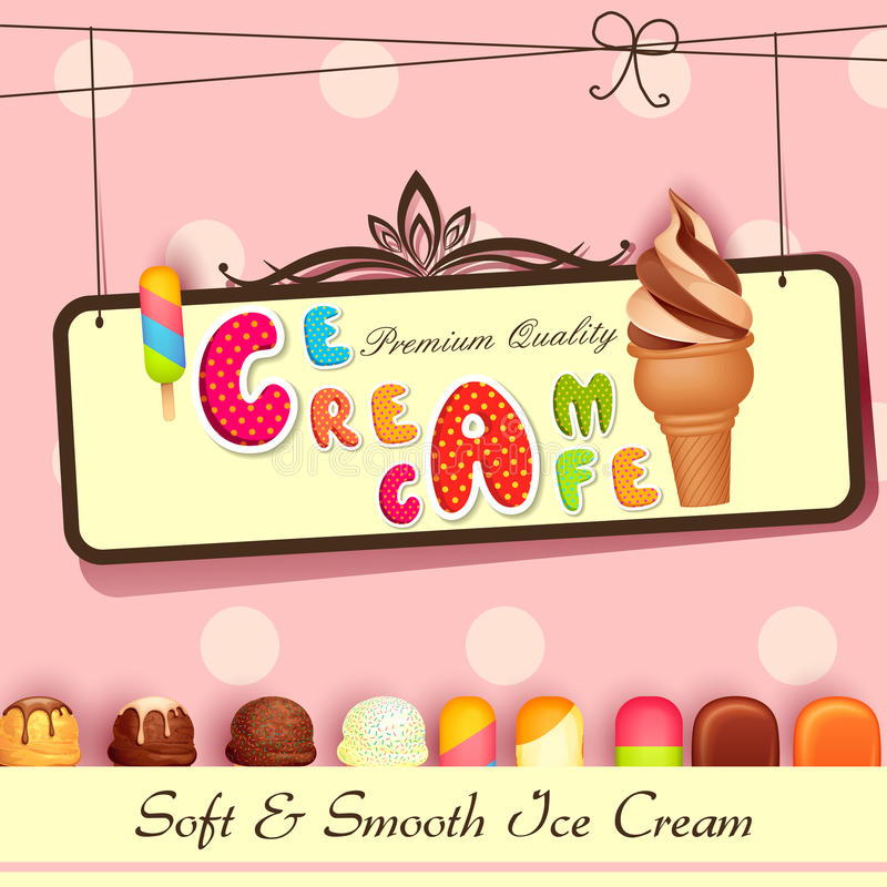 Background Of Cute Ice Cream With Phrase Vector: Ice Cream Poster Royalty Free Stock Photography