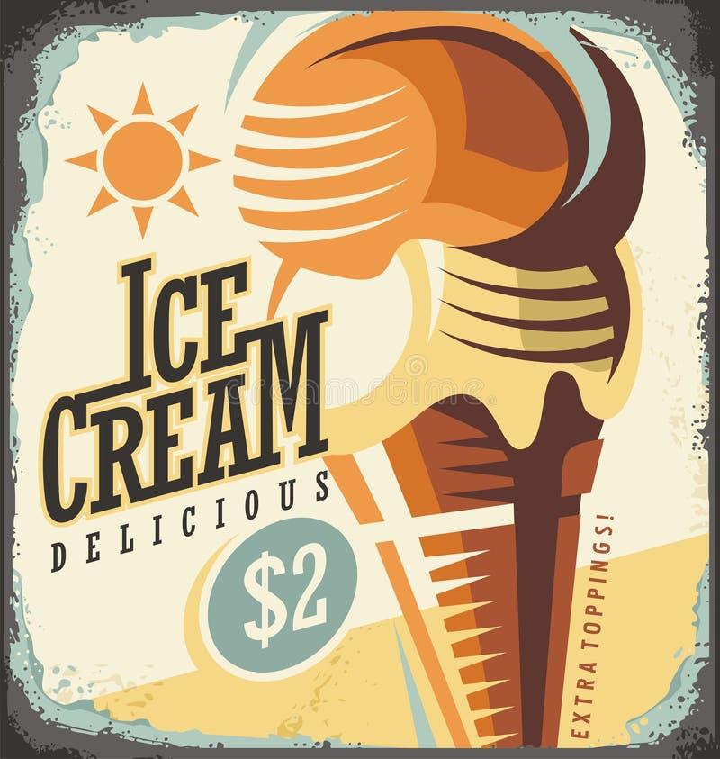 Ice cream retro poster design concept royalty free illustration