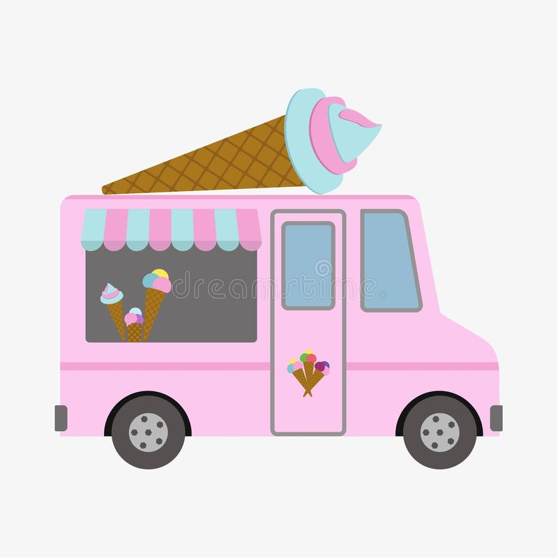 Ice Cream Retro Poster in Flat Design Style. Bus. Vector Illustration. royalty free illustration