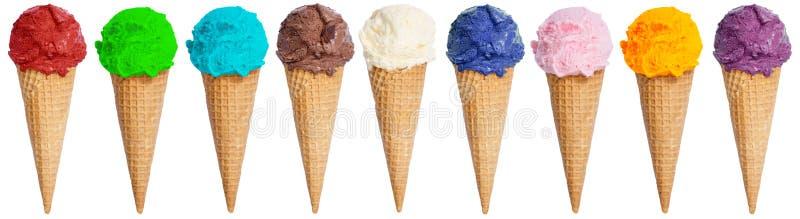 Ice cream scoop collection sundae cone in a row icecream summer stock photos