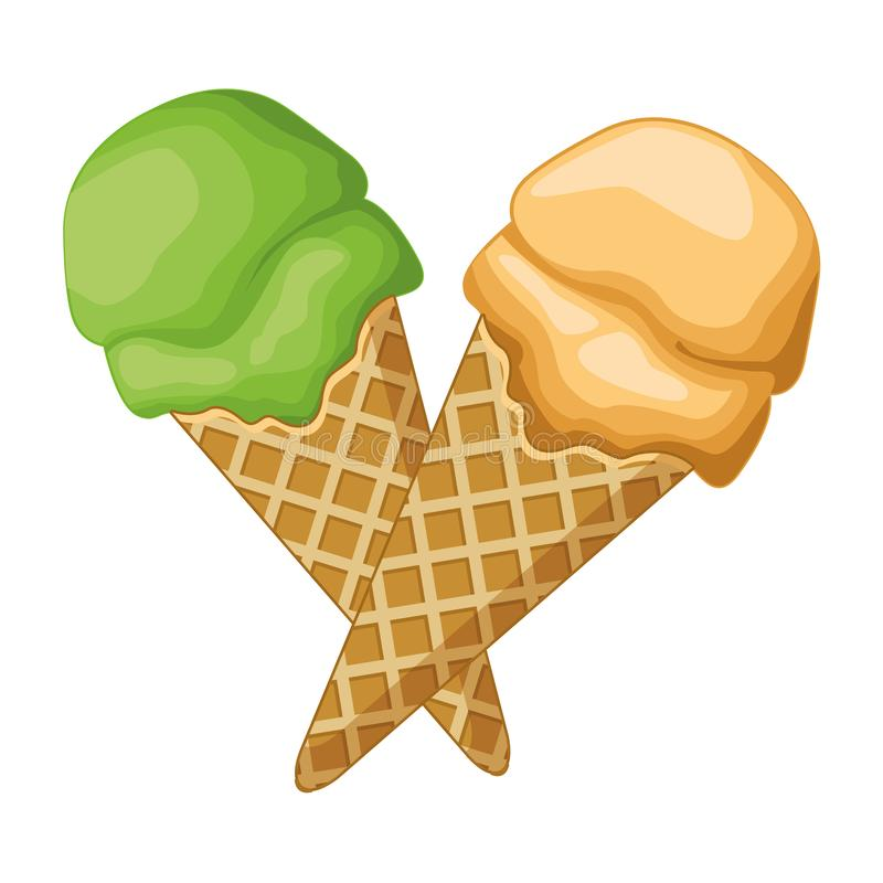 Ice cream with scoop in waffer cones stock illustration