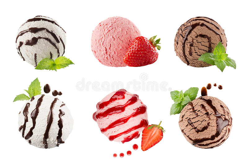 Ice cream scoops collection of six balls, decorated striped chocolate sauce, mint leaves, slice strawberry. Isolated on white back. Ground. Template for menu royalty free stock image