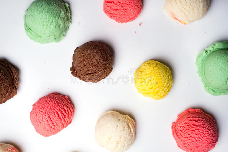 Ice cream scoops collection royalty free stock photography