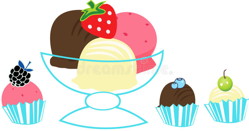 Ice Cream scoops. With fruits royalty free illustration