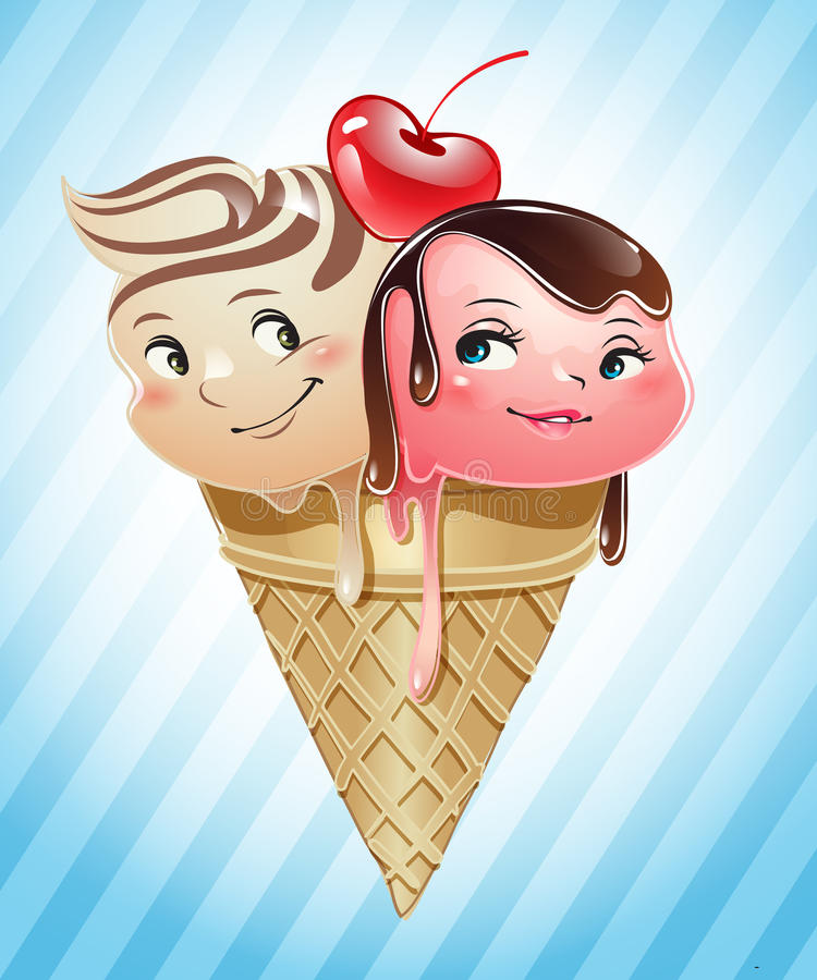 Ice cream scoops in love inside a cone royalty free illustration
