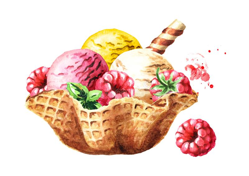 Ice cream scoops with wafer stick and berries in waffle bowl. Watercolor hand drawn illustration, isolated on white background. vector illustration