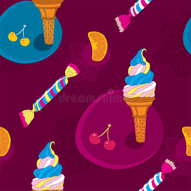 Download Ice Cream Seamless Pattern With Candy And Fruits Stock Vector - Image: 27692079