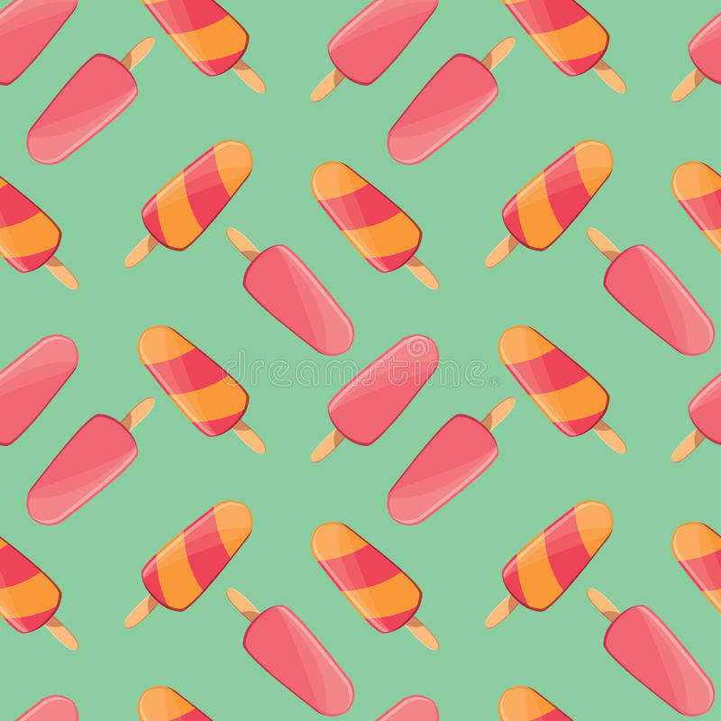 Ice cream seamless pattern, colorful summer background, delicious sweet treats stock illustration