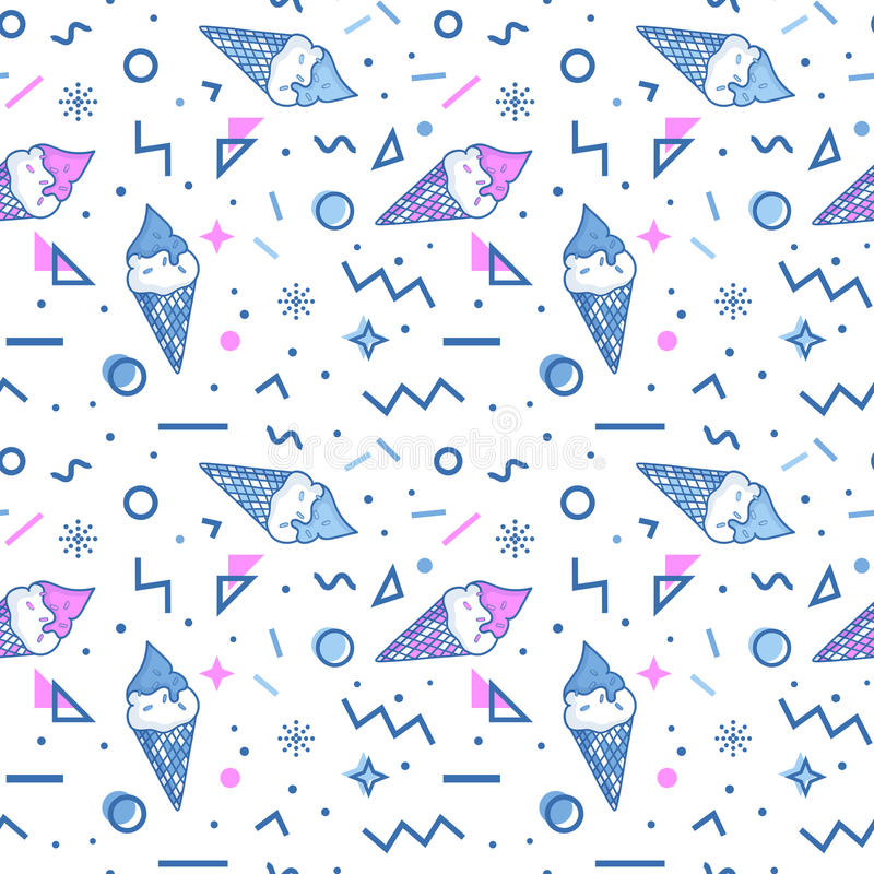Ice cream seamless pattern in memphis style. vector illustration