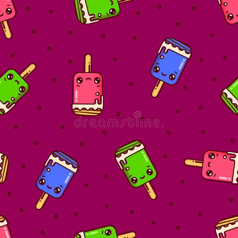 Ice cream seamless pattern on pink background. Vector. Ice cream seamless pattern on pink background. Kawaii cartoon style illustraion. Vector flat outline icon stock illustration