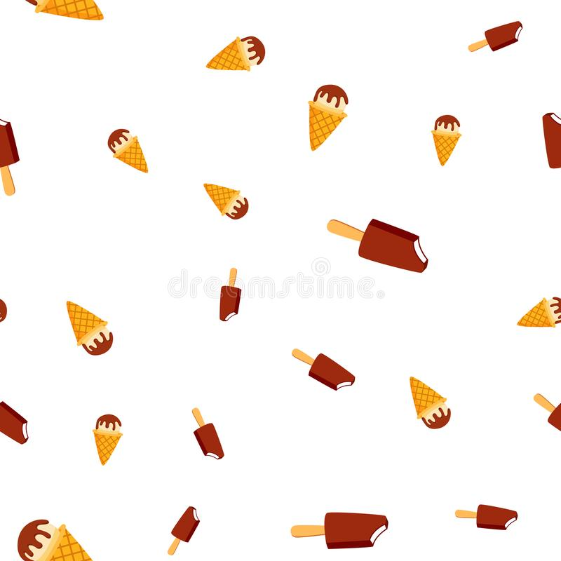 Ice Cream Seamless Pattern Vector. Cold Vanilla Cone. Tasty Cold Food. Cute Graphic Texture. Textile Backdrop. Cartoon royalty free illustration