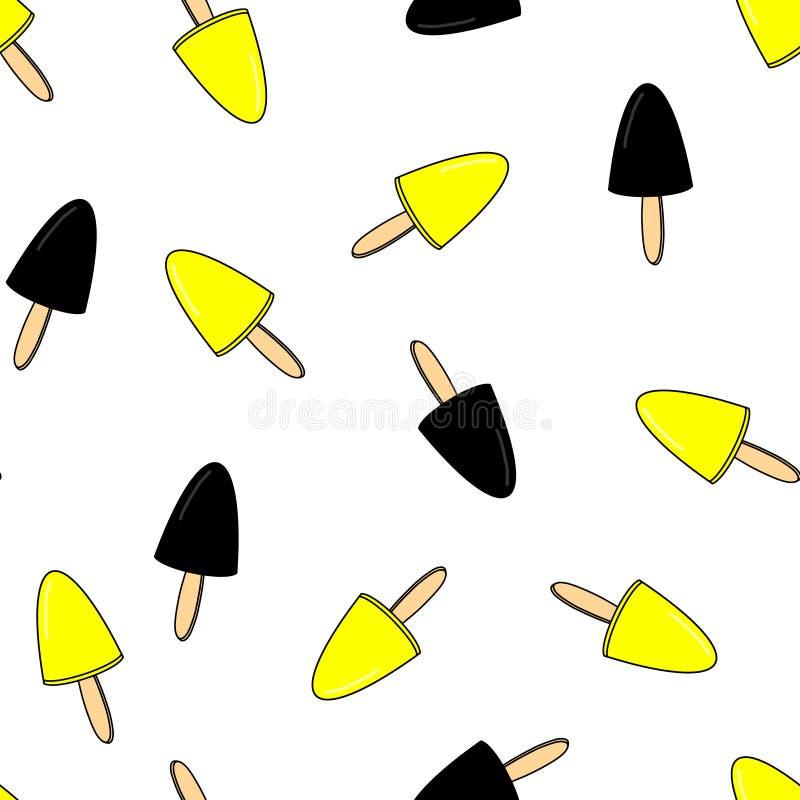 Ice cream Seamless pattern vector illustration white background. Black yellow icecream poster design. Hand drawn summer identity royalty free illustration