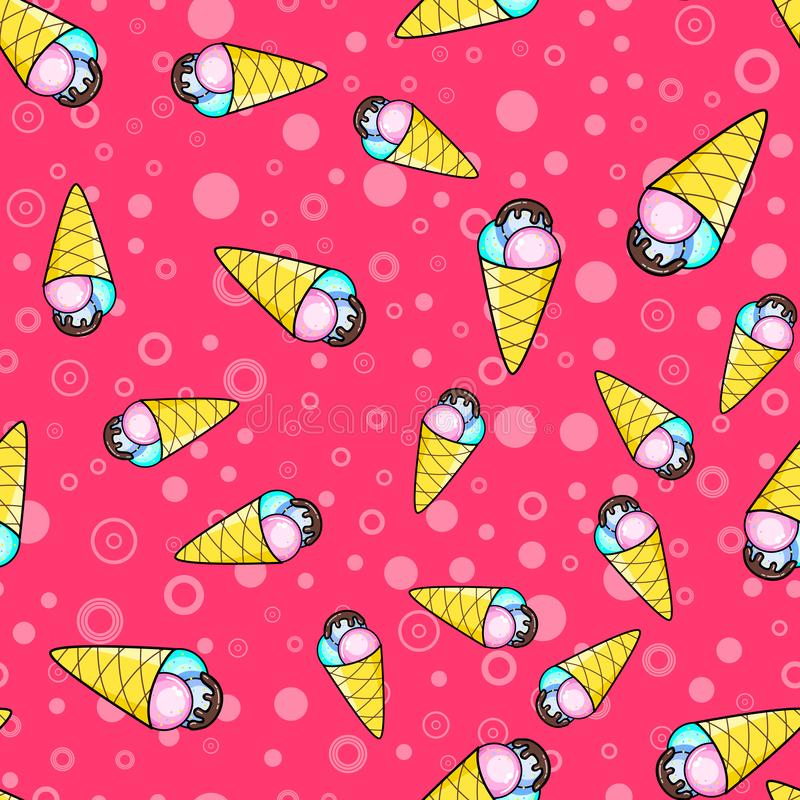 Ice cream seamless pattern on white background. Paper print design. Abstract retro vector illustration. Trendy textile, fabric,. Wrapping. Modern space vector illustration