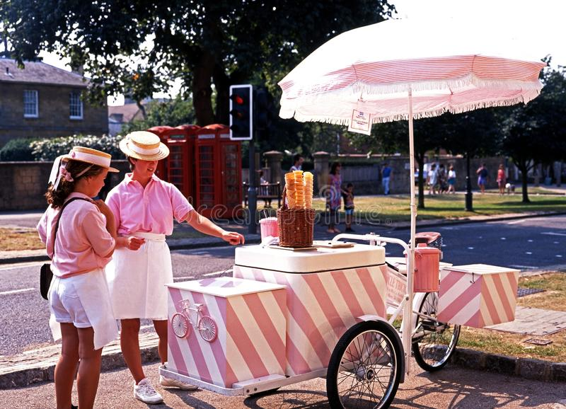Ice Cream Sellers, Broadway. Ice cream sellers along the High Street, Broadway, Worcestershire, Cotswolds, England, United Kingdom royalty free stock photo