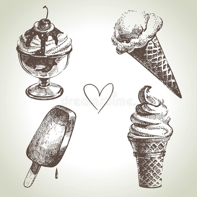 Ice cream set. Hand drawn illustrations vector illustration
