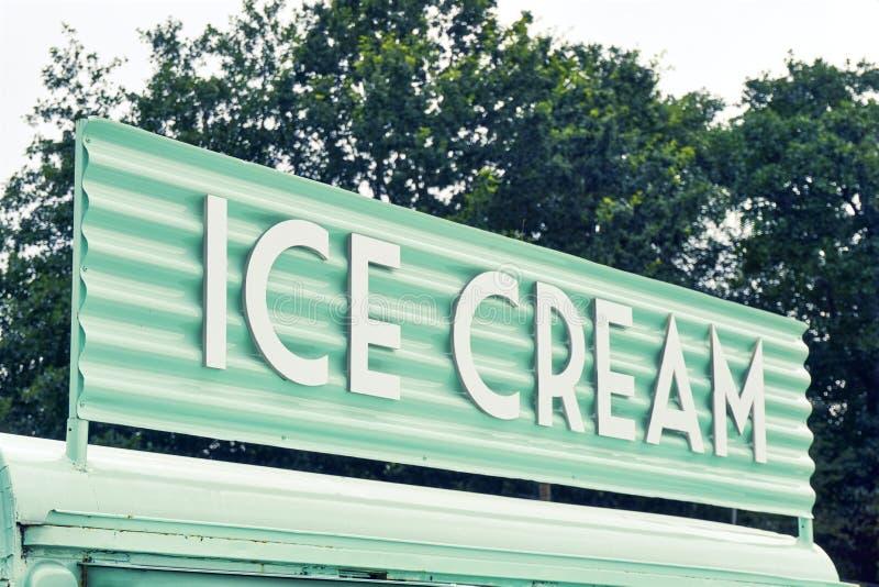 Ice cream sign on food truck stock photo